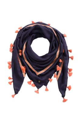 Esprit / Tassel scarf with woven tape trim