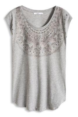 Esprit / Print-Shirt mit funkelndem Strass