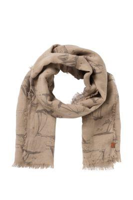 Esprit / Light woven linen scarf + all-over print