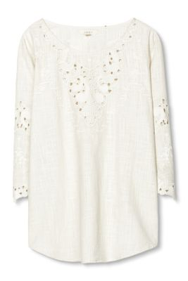 Esprit / Cotton blouse with broderie anglaise
