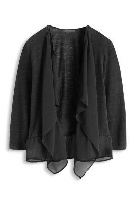 Esprit / Feinstrick-Cardigan mit Volants aus Chiffon