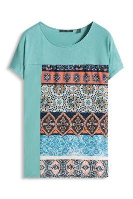 Esprit / Ornamentales Shirt aus Jersey und Crêpe