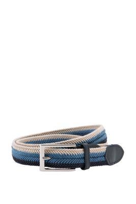 Esprit / Tri-colour woven belt with a leather trim