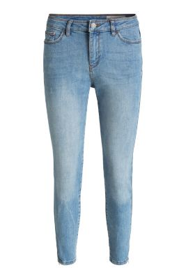 Esprit / Verkürzte Stretch-Denim mit Saumzippern