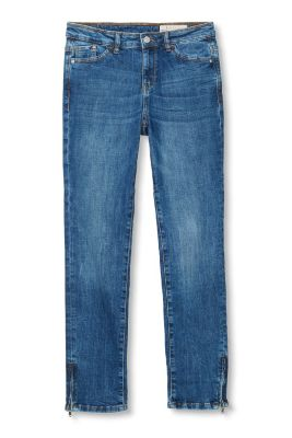 Esprit / Verkürzte Stretch-Denim mit Saum-Zippern