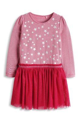 Esprit / Schillerndes Jersey Kleid mit Meshrock