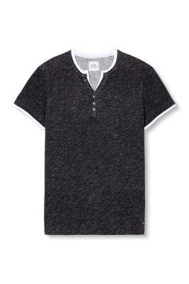 Esprit / Henley i melange-jersey, bomuld
