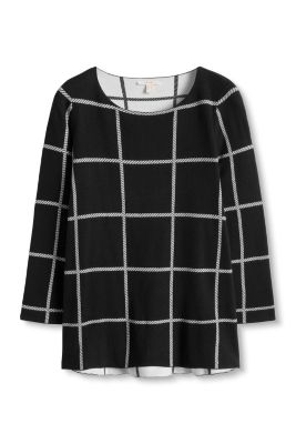 Esprit / Check sweater with flared sleeves