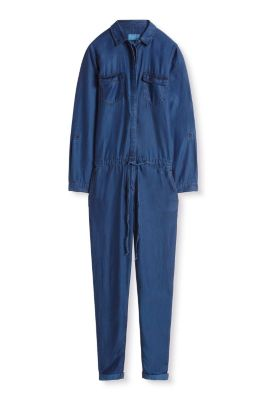 Esprit / Fließender Jumpsuit im Denim-Look