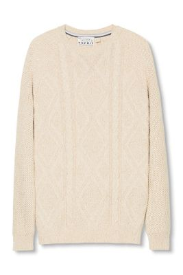 Esprit / Cotton jumper with a cable diamond pattern