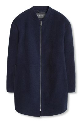 Esprit / Textured blouson coat in blended wool