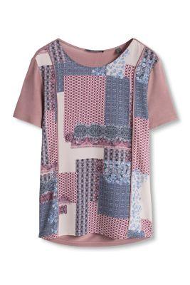 Esprit / Fließendes Print-Shirt im Materialmix