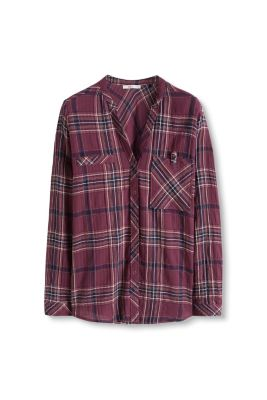 Esprit / Check blouse with turn-up sleeves