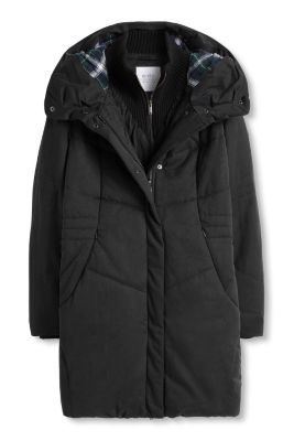 Esprit / Padded parka with a knitted collar