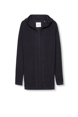 Esprit / Long ribbed knit cardigan + a hood