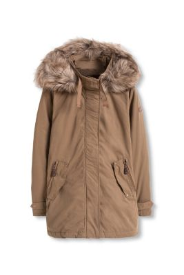 Esprit / Cotton blend parka with teddy lining