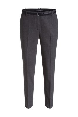 Esprit / Minimally textured trousers with a belt