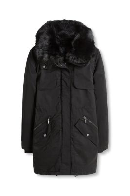 Esprit / Padded shiny parka with a faux fur collar