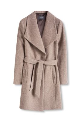 Esprit / Two-tone wool blend coat with XL collar