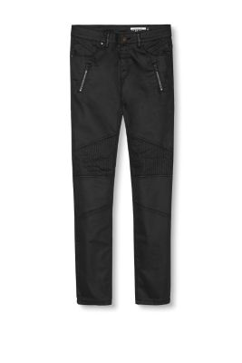 Esprit / Biker-style coated stretch trousers