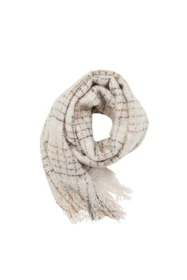 Esprit / Soft, bouclé woven scarf with large checks