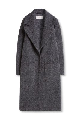 Esprit / Long wool/silk blend tweed coat
