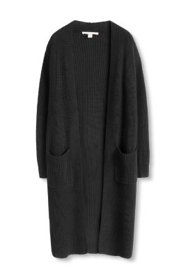 Esprit / Long knitted coat in a sporty ribbed fabric