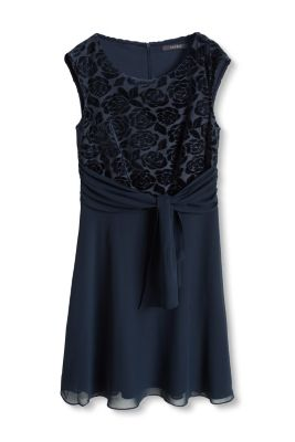 Esprit / Chiffon dress with a velvety top
