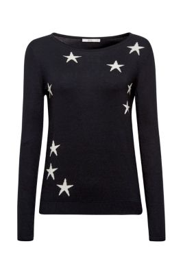 Esprit / Fine knit jumper with star intarsia