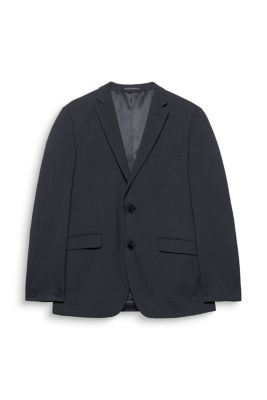 Esprit / wool blend blazer with a fine check pattern