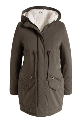 Esprit / Parka with a hood and teddy lining