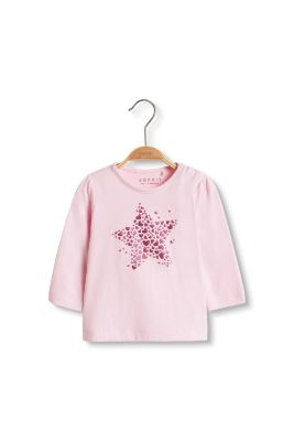 Esprit / Glitter print long sleeve top, 100% cotton