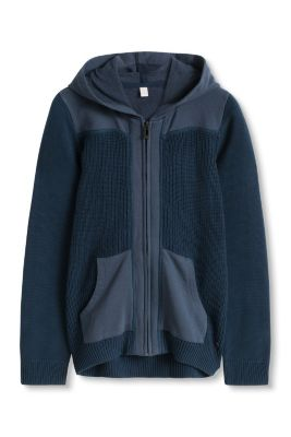 Esprit / Cotton blend hoodie in knit and sweat fabric