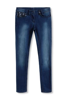 Esprit / Stretch-jeans i denim med pailletter