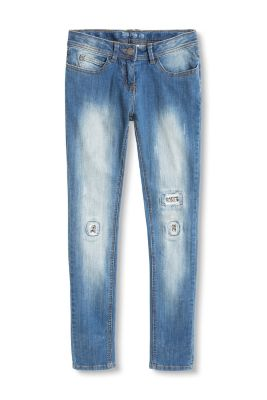 Esprit / Destroyed Stretch-Jeans mit Pailletten