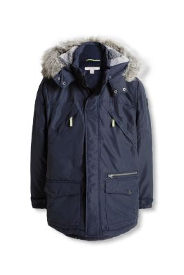 Esprit / Padded parka with a faux fur trim
