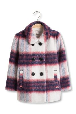 Esprit / Checked coat in a fluffy wool mix