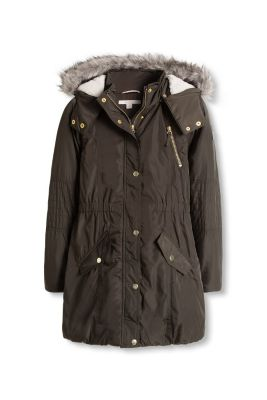 Esprit / Padded parka with fake fur trim