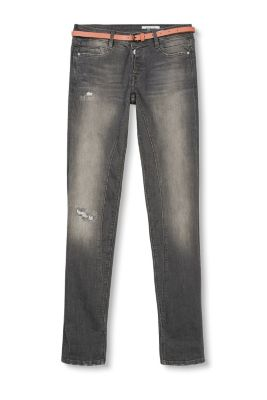 5-pocket jeans in a cool vintage look with a faux smooth leather belt