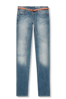 5-pocket jeans in a cool vintage look with a smooth imitation leather belt