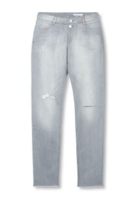 Distressed 5 pocket jeans with two-button fastening and frayed hems