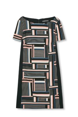 Sheath dress in elegant polyester crêpe with a geometric print