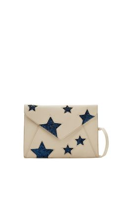 Flat clutch bag made of soft faux leather with glittering stars and a detachable shoulder strap