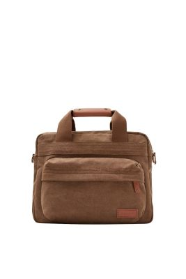 With a washed finish: Messenger bag with a front pocket and leather details, in pure cotton