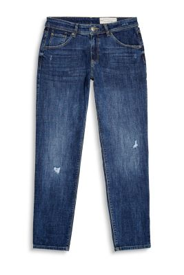Feminine girlfriend jeans in a five-pocket style with heavy vintage effects
