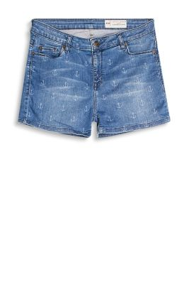 Nautical-style shorts in soft stretch denim with an anchor print