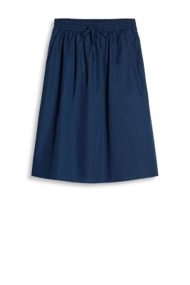 Flared skirt in a trendy midi length with an elasticated waistband and slit pockets, 100% cotton