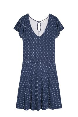 Uncomplicated stretch jersey dress with cap sleeves, a polka dot pattern and a swirling skirt