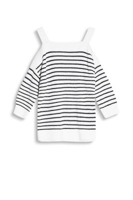 Short, boxy, off-the-shoulder jumper with nautical stripes and shoulder straps, 100% cotton