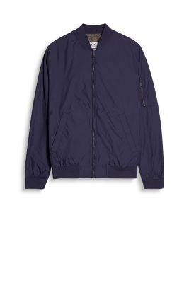 Bomber-style jacket with a small zip pocket on the left sleeve